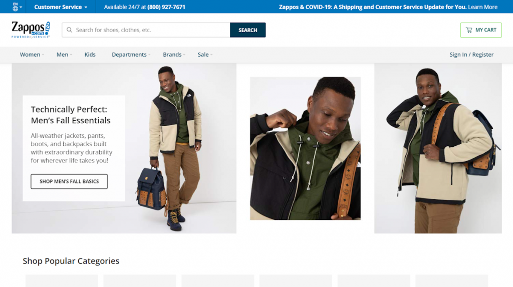 Zappos screenshot