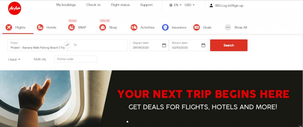 Air Asia screenshot