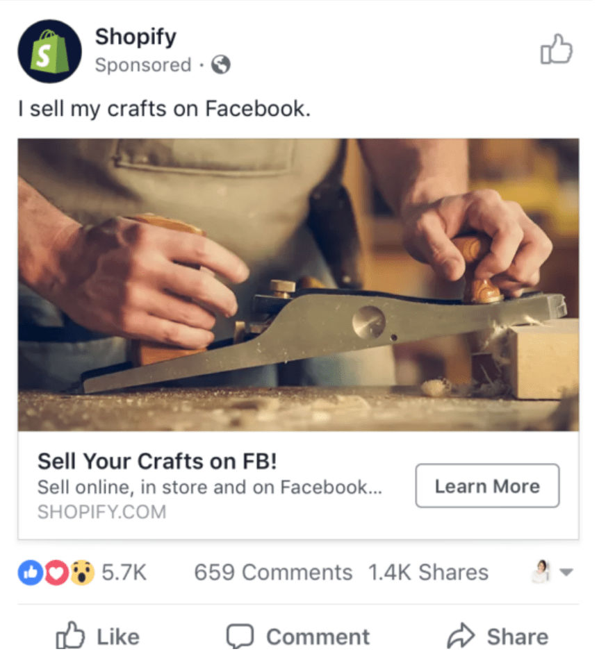 Shopify CTA example